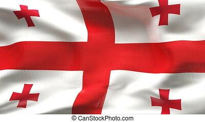 vlag, georgië, textured, katoen