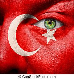 vlag, geverfde, op, gezicht, met, groen oog, om te tonen,...