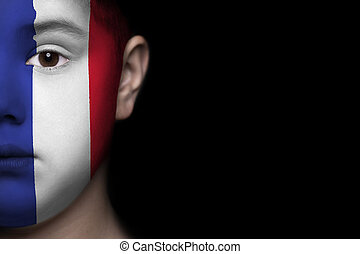 vlag, gezicht, menselijk, frankrijk