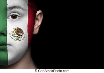 vlag, gezicht, menselijk, mexico