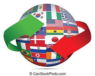 vlag, globe, en, pijl