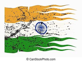 vlag, golvend, india, grunged