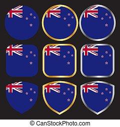 vlag, goud, set, nieuw-zeeland, vector, pictogram, grens, zilver