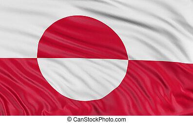 vlag, groenland, 3d