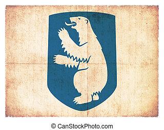 vlag, groenland, grunge, (denmark)