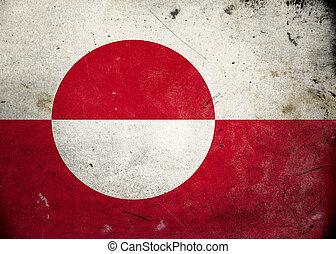 vlag, groenland, grunge
