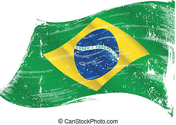 vlag, grunge, braziliaans