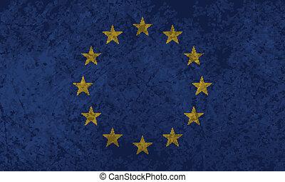 vlag, grunge, europeaan