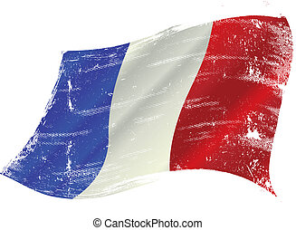 vlag, grunge, franse