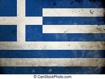 vlag, grunge, griekenland