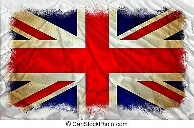 vlag, grunge, groot-brittannië