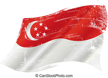 vlag, grunge, singapore