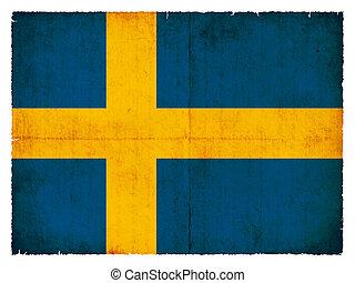 vlag, grunge, zweden