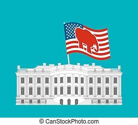 vlag, house., gebouw, staten, politiek, verenigd, herenhuis, winnen, verkiezingen, republikeinen, presidentieel, regering, elephant., vaderlandslievend, america., states., wit rood