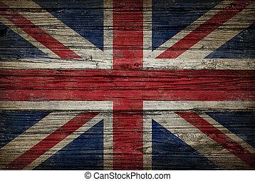 vlag, hout, oud, groot-brittannië