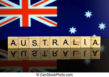 vlag, houten, australië, naam, letters., gemaakt, studio, kleine, land, schot.