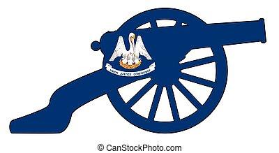 vlag, louisiana, kanon, oorlog, silhouette, civiel