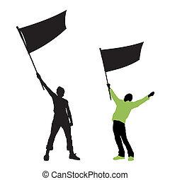 vlag, man, vasthouden, leeg