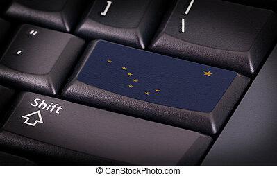 vlag, op, toetsenbord