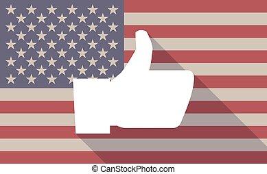 vlag, pictogram, duim, usa, hand