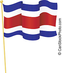 vlag, rica., vector, costa