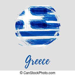 vlag, ronde, achtergrond, griekenland
