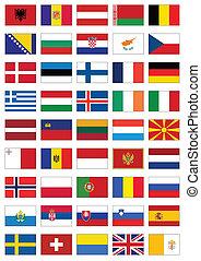 vlag, set, van, alles, europeaan, countries.
