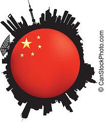 vlag, shanghai, skyline, globe