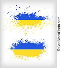 vlag, splased, grunge, oekraïener, inkt