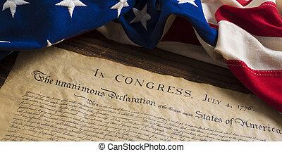 vlag, staten, verenigd, verklaring, onafhankelijkheid, ouderwetse