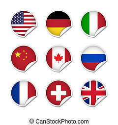 vlag, stickers, set, 1