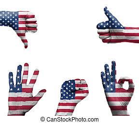 vlag, usa, hand