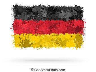 vlag, van, duitsland, geverfde, met, watercolors