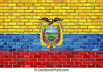 vlag, van, ecuador, op, een, baksteen muur, met, effect