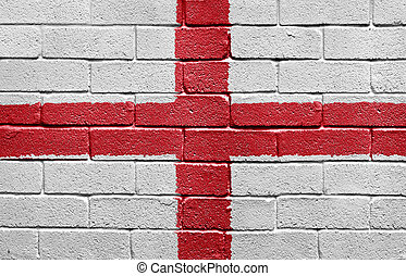 vlag, van, engeland, op, een, baksteen muur