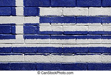 vlag, van, griekenland, op, een, baksteen muur
