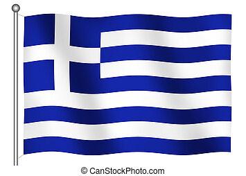 vlag, van, griekenland, zwaaiende