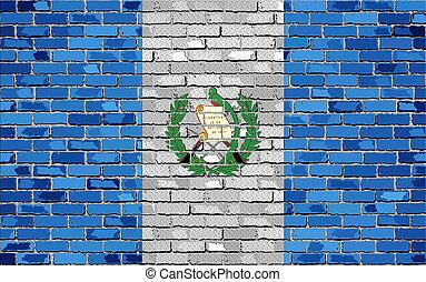 vlag, van, guatemala, op, een, baksteen muur, met, effect
