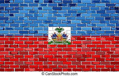 vlag, van, haïti, op, een, baksteen muur