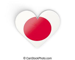 vlag, van, japan, hart formeerde, sticker