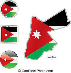 vlag, van, jordanië, in, kaart, en, internet, knopen, vorm