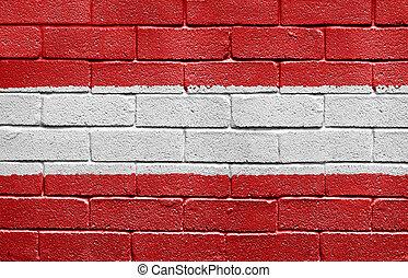 vlag, van, oostenrijk, op, een, baksteen muur