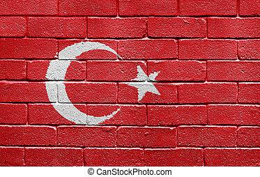 vlag, van, turkije, op, een, baksteen muur