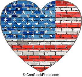 vlag, van, usa, op, een, baksteen muur, in, hart gedaante