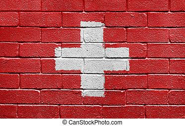 vlag, van, zwitserland, op, een, baksteen muur