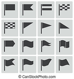 vlag, vector, black , set, iconen