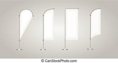 vlag, vector, leeg, spandoek, stander, display, marketing, en, doek, set, van, bevordering, banieren