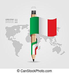 vlag, vector, zijn, potlood, mal, banieren, creatief, spandoek, infographics, gebruikt, groenteblik, /, illustratie, concept