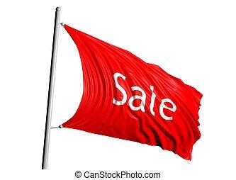 vlag, verkoop, rood, 3d