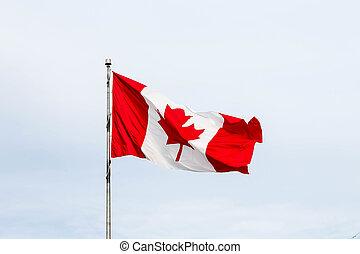 vlag, vliegen, wolken, canadees, onder